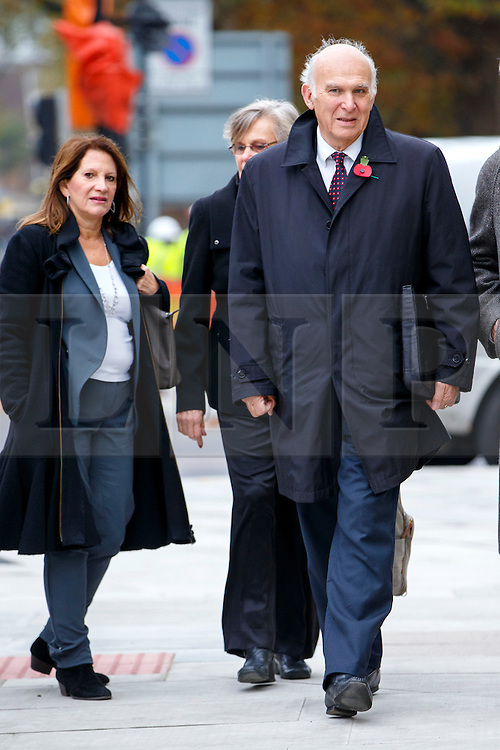 © Licensed to London News Pictures. 03/11/2015. London, UK. Lynne Featherstone and Vince Cable attending a memorial service for ex-Liberal Democrat leader Charles Kennedy at St George's Cathedral in London on Tuesday, 3 November, 2015. Mr Kennedy died suddenly on June 1, 2015 at the age of 55 after suffering a major haemorrhage as a result of a long battle with alcoholism. Photo credit: Tolga Akmen/LNP