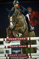 Jacqueline Lai on Basta competes during Longines Speed Challenge at the Longines Masters of Hong Kong on 20 February 2016 at the Asia World Expo in Hong Kong, China. Photo by Juan Manuel Serrano / Power Sport Images