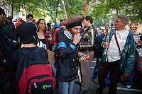 Christopher Fox of Tampa, FL, has lunch in Zuccotti Park during the  Occupy Wall Street Protest in New York...Photo by Robert Caplin.