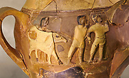 Hüseyindede vases, Old Hittite Polychrome Relief vessel, close up depicting a bull being led to be sacrificed, following Hittite convention of sacrificing an animal of the same gender as the God this bull indicates the sacrifice is to a male god, 16th century BC.. Çorum Archaeological Museum, Corum, Turkey. Against a warm art bacground. .<br /> <br /> If you prefer to buy from our ALAMY STOCK LIBRARY page at https://www.alamy.com/portfolio/paul-williams-funkystock/hittite-art-antiquities.html  - Huseyindede into the LOWER SEARCH WITHIN GALLERY box. Refine search by adding background colour, place, museum etc<br /> <br /> Visit our HITTITE PHOTO COLLECTIONS for more photos to download or buy as wall art prints https://funkystock.photoshelter.com/gallery-collection/The-Hittites-Art-Artefacts-Antiquities-Historic-Sites-Pictures-Images-of/C0000NUBSMhSc3Oo