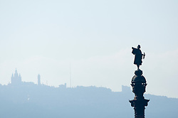 Silhouette skyline statue of Christopher Columbus