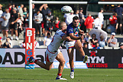Sean O'Sullivan kicks. St George Dragons v Vodafone Warriors. NRL Rugby League, Netstrata Jubilee Stadium, Sydney, NSW, Australia, Sunday 18th April 2021 Copyright Photo: David Neilson / www.photosport.nz