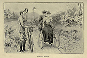 Male and female riders from 'Cycling' by The right Hon. Earl of Albemarle, William Coutts Keppel, (1832-1894) and George Lacy Hillier (1856-1941); Joseph Pennell (1857-1926) Published by London and Bombay : Longmans, Green and co. in 1896. The Badminton Library
