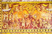 Sinhalese historic battle scene painting Gangaramaya Buddhist Temple, Colombo, Sri Lanka, Asia