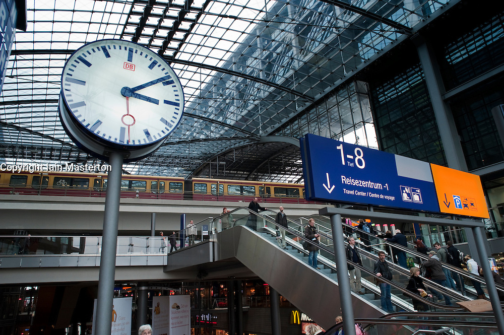 Interior of main railway station or Hauptbahnhof in Berlin Germany 2009