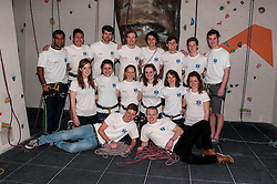 Medical students and volunteers students from the University of Edinburghendured a training session on a climbing wall ahead of their research trip to the Andes which will study the effects of altitude and low-oxygen environments on the human body. Nandesh Patel, Xu Teo, Sandy Jackson, Calum Stannett,  Ally Rocke, Tom Beddis, Cameron Richardson, Harry Newmark; Middle row, Arabella Kennard, Alice Ojeda, Shona Main, Charlotte Bentley, Millie Wood, Eleanor Dow; Front row, Stewart Rodney and Rob Gilhespy. Centre for Sport and Excellence, University of Edinburgh24 April 2014 (c) GER HARLEY | StockPix.eu