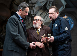 The Price <br /> by Arthur Miller <br /> 50th anniversary production presented by Theatre Royal Bath Productions and Jonathan Church Productions<br /> <br /> Wyndham's Theatre, <br /> London Great Britain <br /> Press photocall <br /> 7th February 2019 <br /> <br /> Adrian Lukis as Walter Franz <br /> David Suchet as Gregory Solomon <br /> Brendan Coyle as Victor Franz <br /> <br /> <br /> Photograph by Elliott Franks