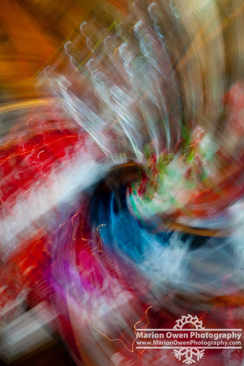 Swirling effect on signs and displays at Pike Place Market in Seattle, Washington.