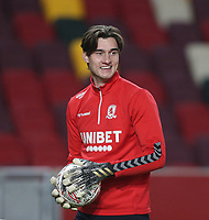 Middlesbrough's Sol Brynn during the warm-up<br /> <br /> Photographer Rob Newell/CameraSport<br /> <br /> The Emirates FA Cup Third Round - Brentford v Middlesbrough - Saturday 9th January 2021 - Brentford Community Stadium - Brentford<br />  <br /> World Copyright © 2021 CameraSport. All rights reserved. 43 Linden Ave. Countesthorpe. Leicester. England. LE8 5PG - Tel: +44 (0) 116 277 4147 - admin@camerasport.com - www.camerasport.com