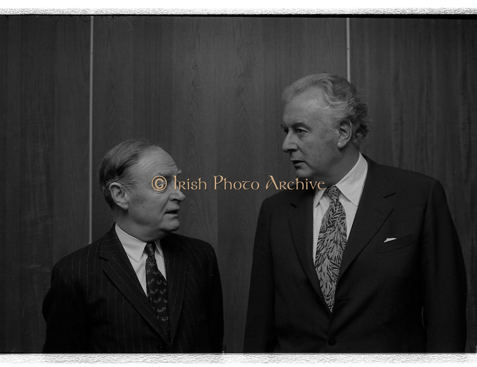 Australian Prime Minister Visits Ireland.   (H79)..1974..23.12.1974..12.23.1974..23rd December 1974..As part of his tour of E.E.C. Capital Cities,Mr Gough Whitlam, the Australian Prime Minister visited Dublin today. In Dublin he will have talks with An Taoiseach, Mr Liam Cosgrave...An Taoiseach,Mr Liam Cosgrave and the Australian prime Minister,Mr Gough Whitlam pose for the press inside the terminal building.