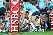 Ben Tameifuna dives over to score a try. Waratahs v Chiefs. 2013 Investec Super Rugby Season. Allianz Stadium, Sydney. Friday 19 April 2013. Photo: Clay Cross / photosport.co.nz