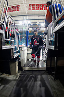 KAMLOOPS, CANADA - NOVEMBER 5: Josh Brook #2 of Team WHL (Moose Jaw Warriors) exits the ice after warm up against the Team Russia on November 5, 2018 at Sandman Centre in Kamloops, British Columbia, Canada.  (Photo by Marissa Baecker/Shoot the Breeze)