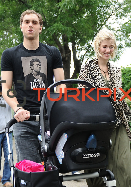 Swedish International forward, Turkish soccer club Galatasaray new player Johan ELMANDER with his wife Amanda Calvin ELMANDER and his daughter Alice during their in Istanbul Turkey on Saturday 28 May 2011. Photo by TURKPIX