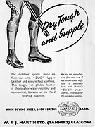 Advert in Country Life magazine 1951 W & J Martin Ltd ( Tanners ) Glasgow, Zug upper support leather