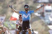 Arrival, Alejandro Valverde (ESP - Movistar) Winner, Michal Kwiatkowski (POL - Team Sky) during the UCI World Tour, Tour of Spain (Vuelta) 2018, Stage 2, Marbella - Caminito del Rey 163.5 km in Spain, on August 26th, 2018 - Photo Luis angel Gomez / BettiniPhoto / ProSportsImages / DPPI