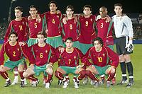 Fotball<br /> Åttendelsfinale EM U21 2004<br /> 18.11.2003<br /> Frankrike v Portugal<br /> Foto: Digitalsport<br /> Norway Only<br /> <br /> FOOTBALL - EUROPEAN UNDER 21 CHAMPIONSHIP 2004 - 1/8 FINAL - 031118 - FRANCE v PORTUGAL - TEAM PORTUGAL ( BACK ROW LEFT TO RIGHT: CRISTIANO RONALDO / RICARDO COSTA / BRUNO ALVES / TIAGO / HELDER POSTIGA/ JOAO PAOLO / MOREIRA. FRONT ROW : MARIO SERGIO / RAUL MEIRELES / RICARDO QUARESMA / HUGO VIANA )  - PHOTO GUY JEFFROY