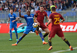 April 7, 2018 - Rome, Italy - Bryan Dabo and  Kevin Strootmanduring the Italian Serie A football match between A.S. Roma and ACF Fiorentina at the Olympic Stadium in Rome, on april 07, 2018. (Credit Image: © Silvia Lore/NurPhoto via ZUMA Press)