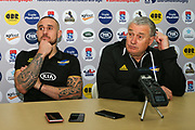 TJ Perenara (L) and coach Chris Boyd looking dejected at the post match press conference, after the Super Rugby match, Brumbies V Hurricanes, GIO Stadium, Canberra, Australia, 30th June 2018.Copyright photo: David Neilson / www.photosport.nz