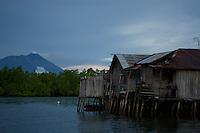 WAterfront houses in Sidangoli, Halmahera, Indonesia.