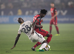 September 16, 2017 - Carson, California, U.S - Michael Ciani #28 of the L.A. Galaxy battles for the ball with Tosaint Ricketts #87 of the Toronto FC during their game on Saturday September 16, 2017 at StubHub Center in Carson, California. L.A. Galaxy loses to Toronto FC, 4-0. (Credit Image: © Prensa Internacional via ZUMA Wire)