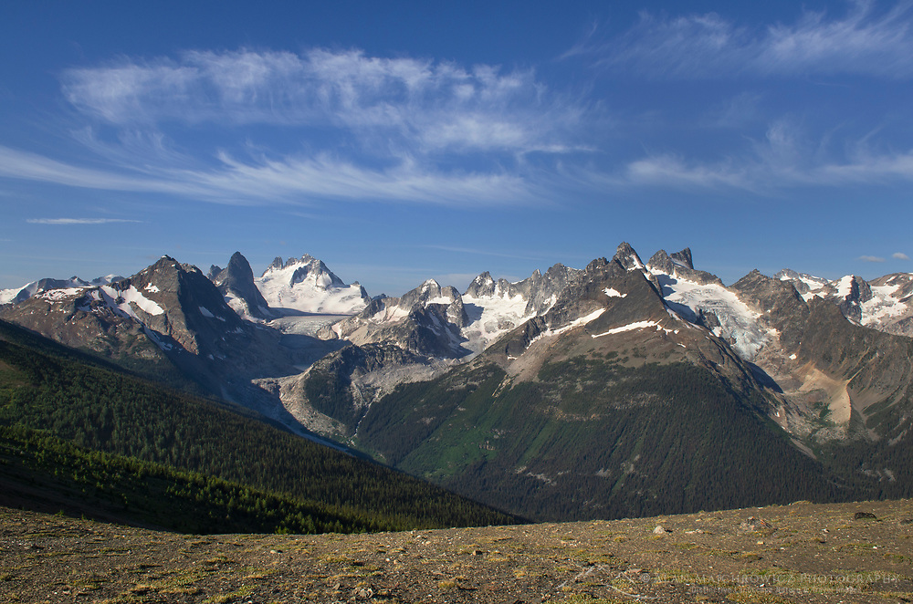 View of Howser Towers, Vowell Glacier, and Northern Bugaboos. Seen from Rocky Point Ridge. Bugaboo Provincial Park Purcell Mountains British Columbia.