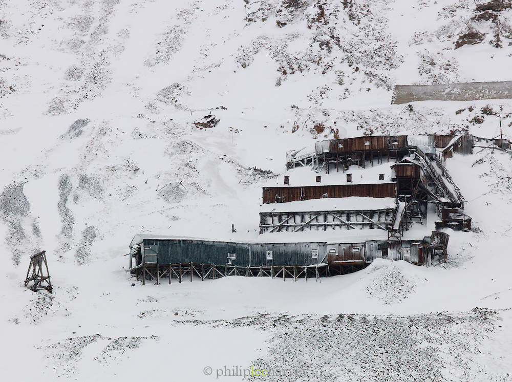 An old abandoned mine on the outskirts of Longyearbyen, the largest town in the Svalbard archipelago, on Spitsbergen in Norway