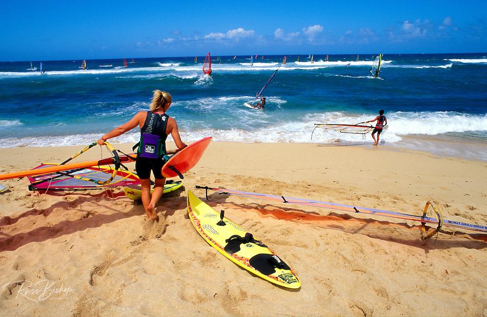 Windsurfing at Ho'okipa Beach, Maui, Hawaii USA