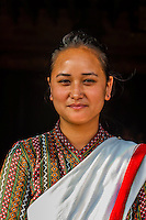 Woman wearing Nepalese traditional costume, Hotel Heritage, Bhaktapur, Nepal.