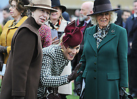 National Hunt Horse Racing - 2020 Cheltenham Festival - Wednesday, Day Two (Ladies Day)<br /> <br /> Zara Phillips waves to a young boy with HRH Anne, Princess Royal and HRH Camilla, Duchess of Cornwall  (right) before the 14.10 RSA Insurance Novices Steeple Chase (Grade 1), at Cheltenham Racecourse.<br /> <br /> COLORSPORT/ANDREW COWIE