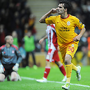 Galatasaray's Engin Baytar celebrate his goal during their Turkish Superleague soccer match Galatasaray between Sivasspor at the Turk Telekom Arena at Aslantepe in Istanbul Turkey on Saturday 26 November 2011. Photo by TURKPIX