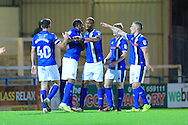 Nathaniel Mendez-Laing, Calvin Andrew celebrate 3-1 during the EFL Cup match between Rochdale and Chesterfield at Spotland, Rochdale, England on 9 August 2016. Photo by Daniel Youngs.