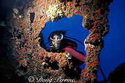diver on wreck of the Biscayne, Miami, Florida, ( Western Atlantic Ocean ) MR 67