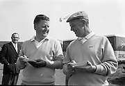 20/08/1967<br /> 08/20/1967<br /> 20 August 1967<br /> Irish Dunlop £1,000 Tournament at Tramore Golf Club, Co. Waterford. Norman Drew (left) of Bradshaws Brae and Christy Greene of Miltown coming off the 18th green at the close of the competition.