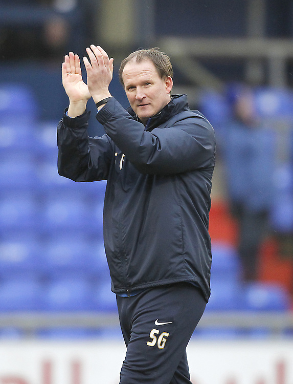 Preston North End's Manager Simon Grayson<br /> <br /> Photographer Mick Walker/CameraSport<br /> <br /> Football - The Football League Sky Bet League One - Oldham Athletic v Preston North End - Saturday 28th February 2015 - SportsDirect.com Park - Oldham<br /> <br /> © CameraSport - 43 Linden Ave. Countesthorpe. Leicester. England. LE8 5PG - Tel: +44 (0) 116 277 4147 - admin@camerasport.com - www.camerasport.com