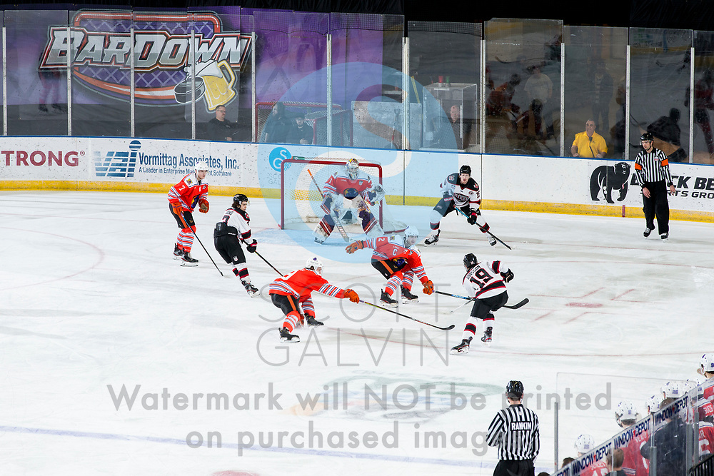 The Youngstown Phantoms lose 5-4 in overtime to the Chicago Steel at the Covelli Centre on February 26, 2020.<br /> <br /> Aiden Gallacher, defenseman, 2; Colin Purcell, goalie, 1; Linden Alger, defenseman, 7; Bradley Marek, forward, 9