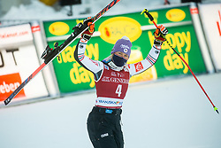 Tessa Worley (FRA) celebrates at Trophy ceremony after 2nd Run of Ladies' Giant Slalom at 57th Golden Fox event at Audi FIS Ski World Cup 2020/21, on January 16, 2021 in Podkoren, Kranjska Gora, Slovenia. Photo by Vid Ponikvar / Sportida