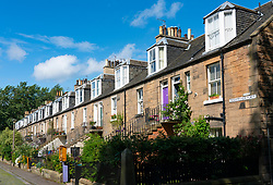 Exterior view of row of Colony style terraced houses in Stockbridge, Edinburgh, Scotland, UK