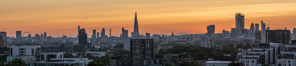 London Panorama showing landmarks London Eye, Wembley Stadium, The Shard, One Blackfriars, St Pauls Cathedral, Walkie Talkie, The Gherkin