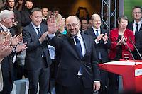 29 JAN 2016, BERLIN/GERMANY:<br /> Martin Schulz, SPD, Kanzlerkandidat, auf der Buehne, zu Beginn der Vorstellung von Schulz als Kanzlerkandidat der SPD zur Bundestagswahl, nach der Nominierung durch den SPD-Parteivorstand, Willy-Brandt-Haus<br /> IMAGE: 20170129-01-005<br /> KEYWORDS: Applaus, applaudieren, klatschen