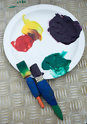 © Licensed to London News Pictures. 20/09/2011. Dunstable, UK. Paints and brushes used by Karishma. KARISHMA the 13-year-old female elephant who has taken to painting in her spare time at Whipsnade Zoo, in Dunstable, Bedfordshire. Photo credit: Ben Cawthra/LNP