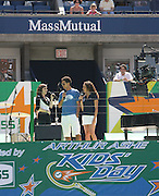 l to r: Demi Lovato, Quddus and Suzie Castillo at The 2008 Arthur Ashe Kids' Day held at The USTA Bille Jean King National Tennis Center on August 23, 2008 in Flushing, NY