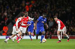 Mady Camara of Olympiacos runs at the Arsenal defence - Mandatory by-line: Arron Gent/JMP - 27/02/2020 - FOOTBALL - Emirates Stadium - London, England - Arsenal v Olympiacos - UEFA Europa League Round of 32 second leg