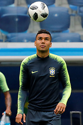 June 21, 2018 - Saint Petersburg, Russia - Casemiro during a Brazil national team training session during the FIFA World Cup 2018 on June 21, 2018 at Saint Petersburg Stadium in Saint Petersburg, Russia. (Credit Image: © Mike Kireev/NurPhoto via ZUMA Press)