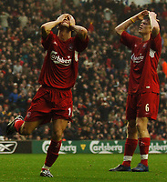 Fotball<br /> Premier League 2004/2005<br /> 06.11.2004<br /> Foto: BPI/Digitalsport<br /> NORWAY ONLY<br /> <br /> Liverpool v Birmingham City<br /> <br /> Luis Garcia and John Arne Riise are stunned as the spaniard fired over from close range