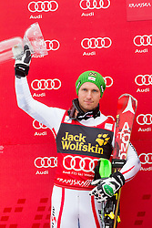 Second placed HIRSCHER Marcel  of Austria celebrates at trophy ceremony after the 10th Men's Slalom - Pokal Vitranc 2013 of FIS Alpine Ski World Cup 2012/2013, on March 10, 2013 in Vitranc, Kranjska Gora, Slovenia. (Photo By Vid Ponikvar / Sportida.com)