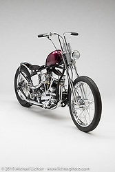"""""""'Gilby's 65 Panhead"""", A 1965 HD Panhead FL Chopper, by Gilby Clarke, in  Los Angeles, CA.  Photographed by Michael Lichter in Sturgis, SD on 8/2/18. ©2018 Michael Lichter."""
