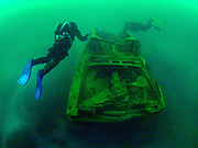 LungFish and Chest Mounted rebreather divers at the Cadillac wreck at Dutch Springs in Bethlehem, Pennsylvania