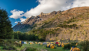 Supplied tents at Refugio & Camping Gray, Cordon Olguin, in Torres del Paine National Park, Chile, Patagonia, South America. The Park is listed as a World Biosphere Reserve by UNESCO. This image was stitched from multiple overlapping photos.