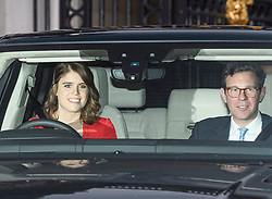 © Licensed to London News Pictures. 18/12/2019. London, UK. PRINCES EUGEINE and husband JACK BROOKSBANK. Members of the Royal Family seen leaving Buckingham Palace in West London after attending the Queen's annual Christmas lunch. Photo credit: Ben Cawthra/LNP