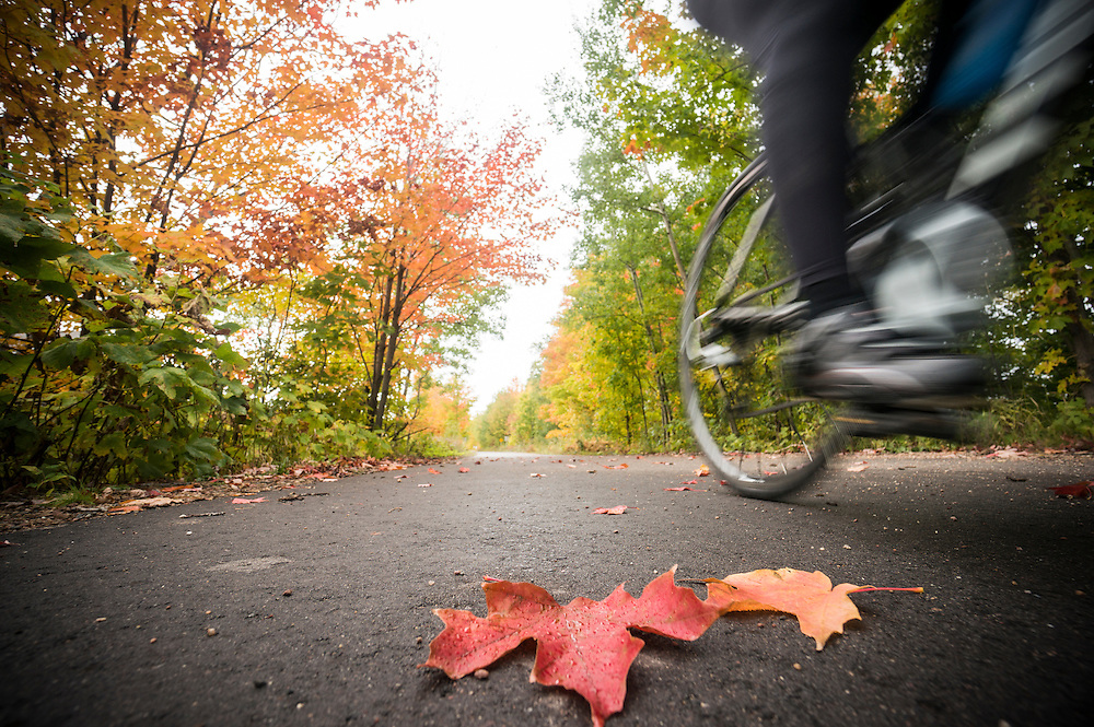 Fall bike ride on the Iron Ore Heritage Trail connecting Ishpeming, Negaunee and Marquette on Michigan's Upper Peninsula.